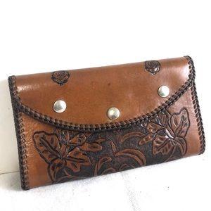 Handmade Vintage Tooled Leather Clutch